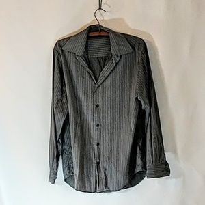 Perry Ellis Gray Stripe Button Down Dress Shirt